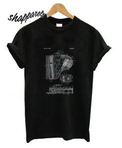 Adult Vintage Patent Black Drawing T Shirt