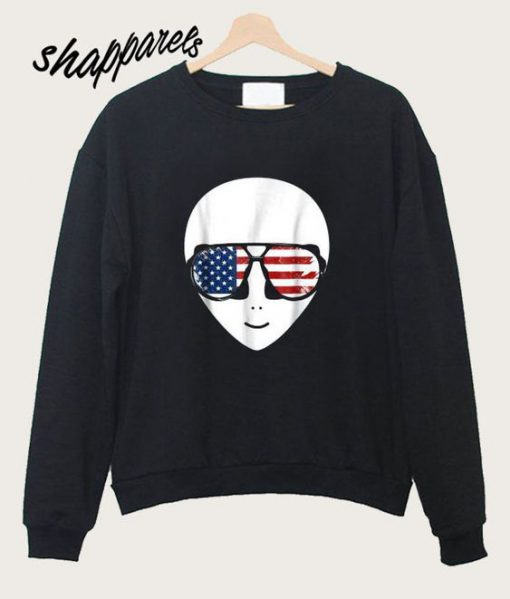 Alien Beard American Flag Sunglasses Sweatshirt