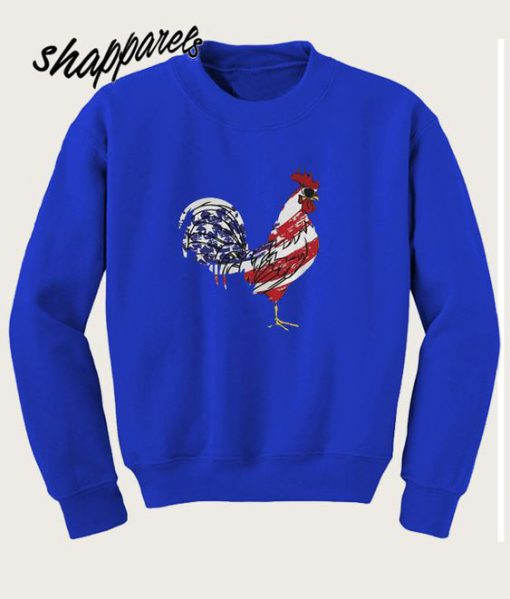American US flag Rooster chicken Sweatshirt