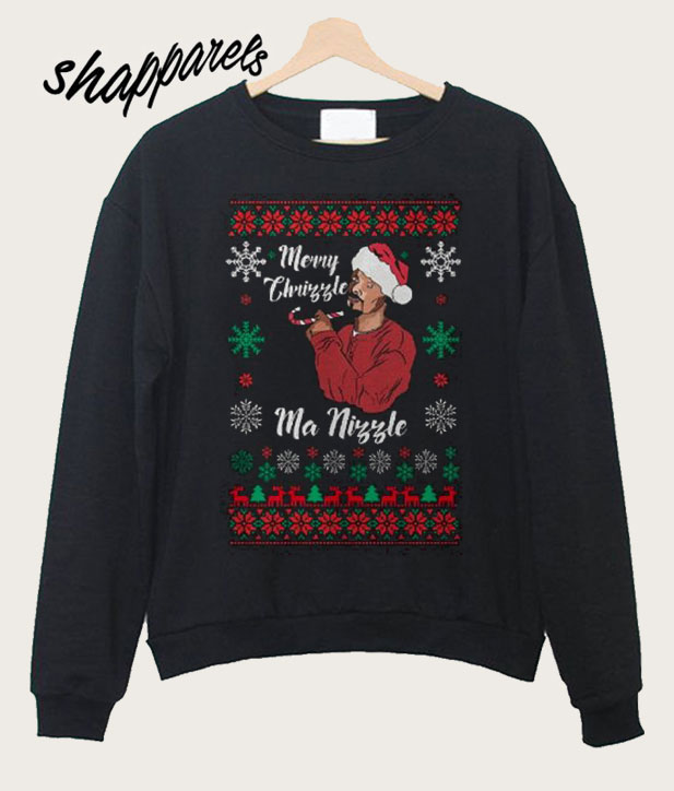 Snoop Dogg Christmas.Merry Chrizzle Snoop Dogg Funny Christmas Sweatshirt