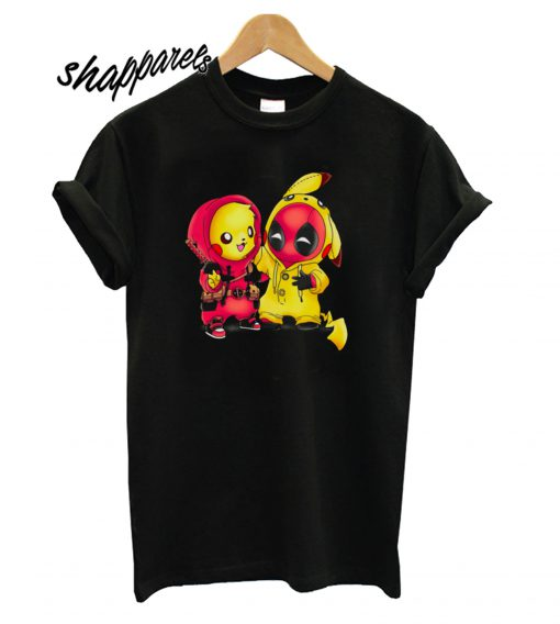 Pikapool Pokemon and Deadpool T-Shirt