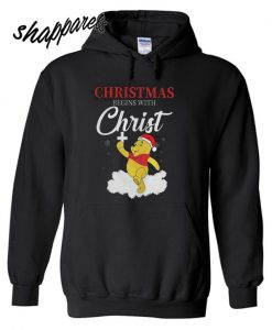 Winnie The Pooh Christmas Begins With Christ Hoodie