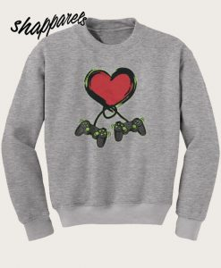 Video Gamer Heart Controller Valentine's Day Sweatshirt