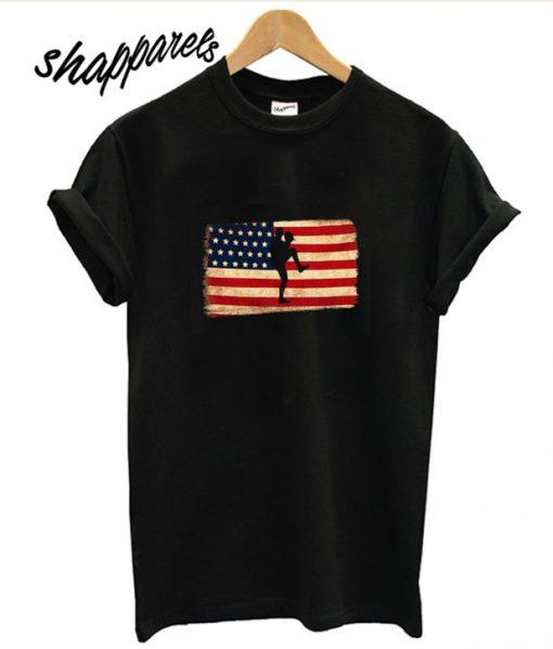 Baseball pitcher throws ball American Flag T shirt