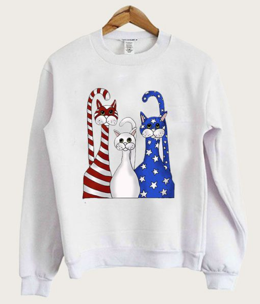 4th of July 3 Cats Red White Blue Sweatshirt