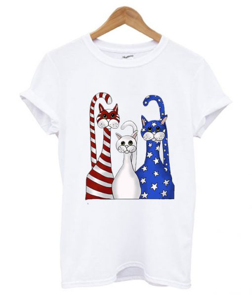 4th of July 3 Cats Red White Blue T shirt