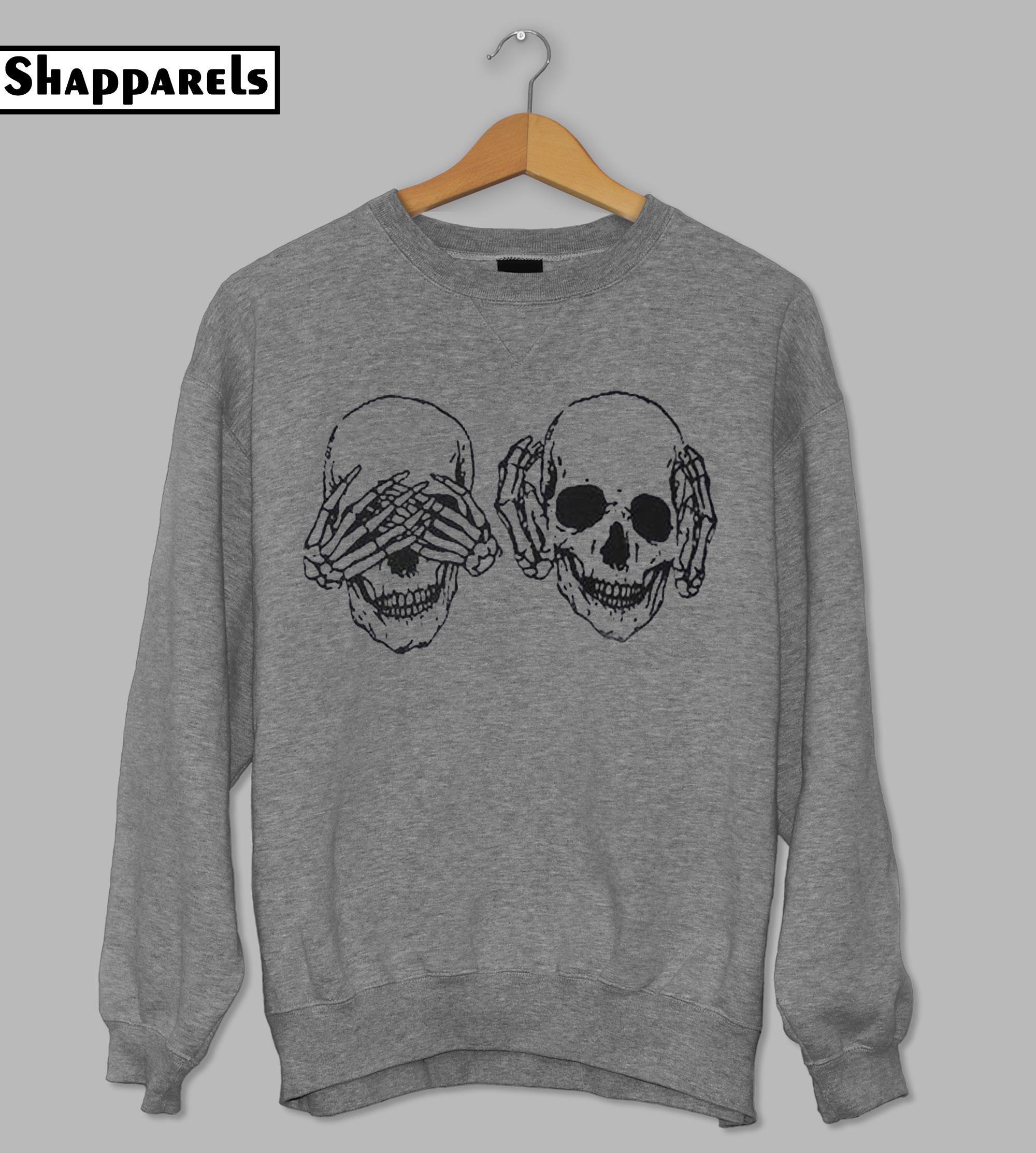 Skull Print Drop Shoulder Sweatshirt