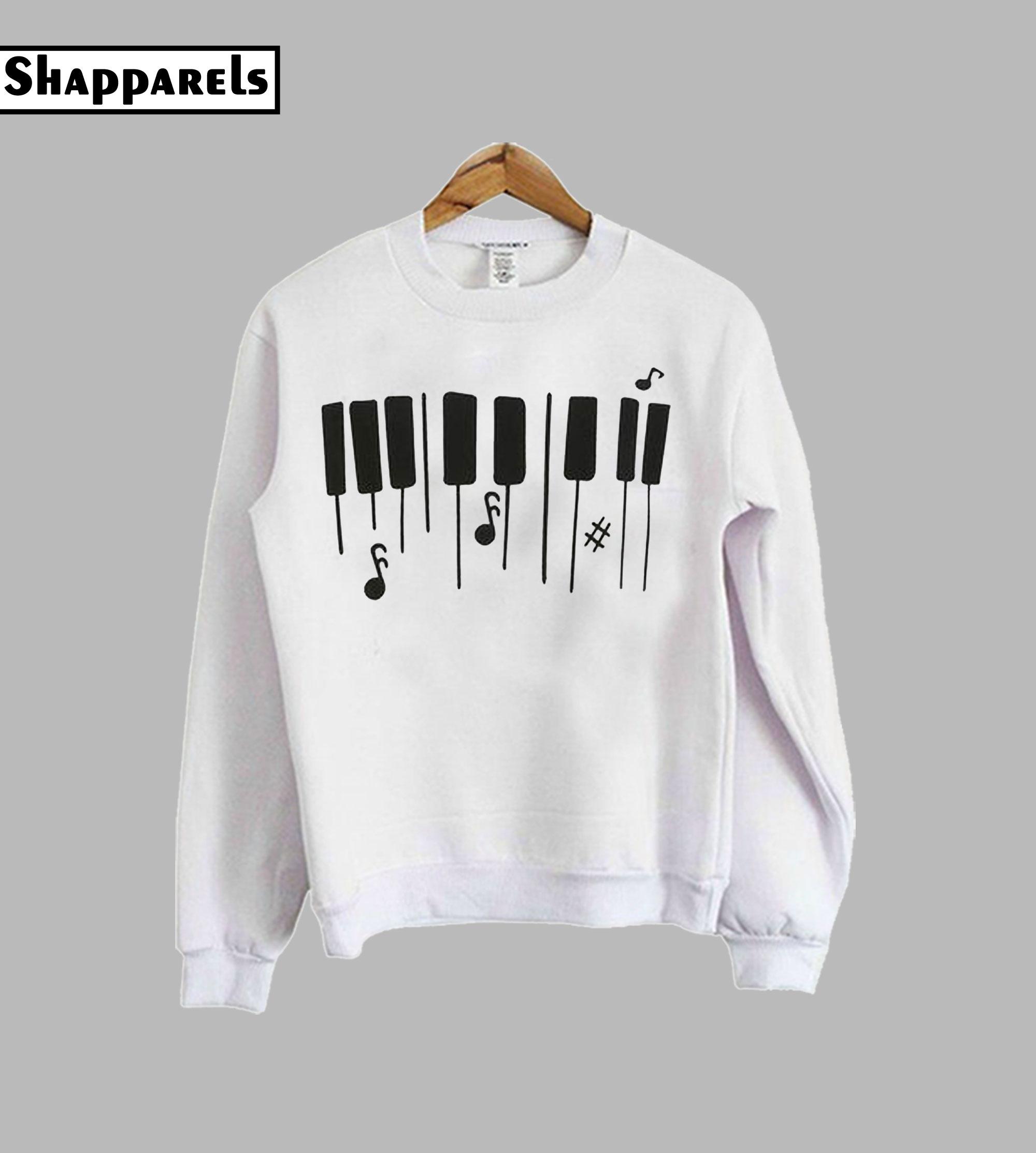 Piano Keyboard Print Drop Sweatshirt