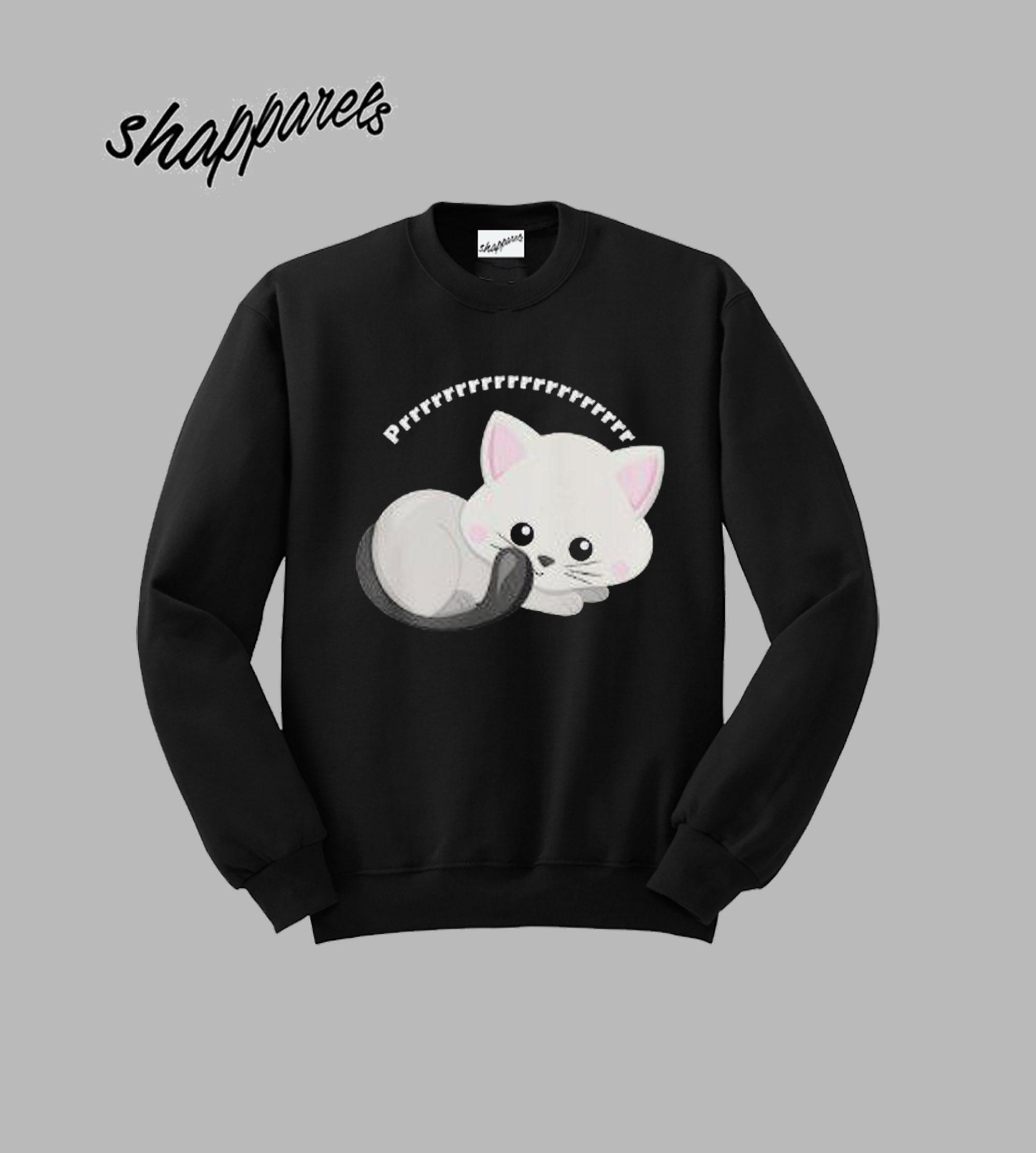 Adorable White Kitten Prrrr Sweatshirt