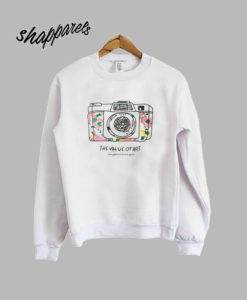 White Round Neck Camera Print Sweatshirt