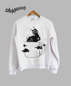Many Eyed Cat In Coffee Cup Sweatshirt