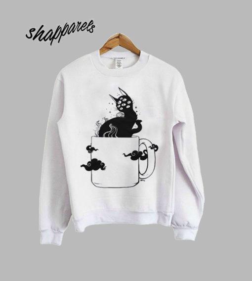 Many Eyed Cat In Coffee Cup Sweatshirt